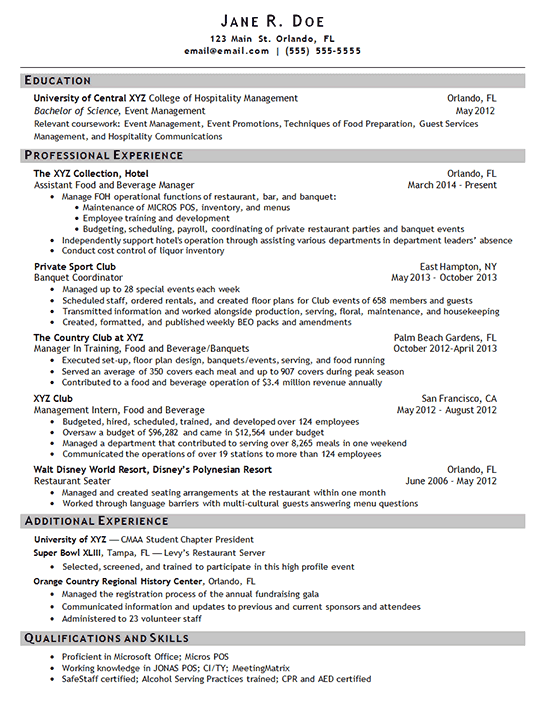 Hotel Manager Resume Example Sample