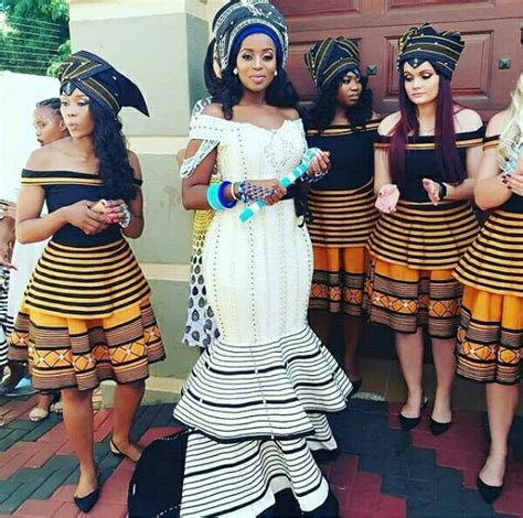 Xhosa Bride and Bridesmaids In Umbhaco Inspired