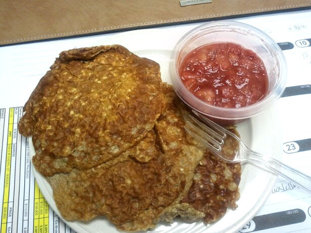 Figure Competition Diet - Breakfast, oatmeal pancakes with strawberry banana syrup