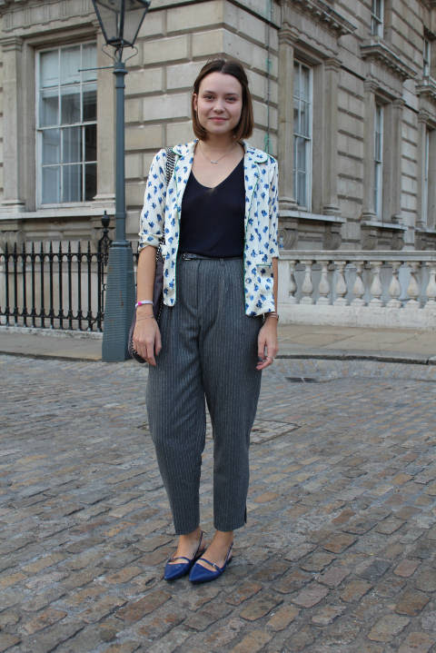 Maria wears: Jacket: Kate Moss for Topshop, Top: Vintage, Trousers: Topshop, Shoes: Prada, Bag: Stella McCartney