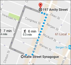 https://www.google.co.jp/maps/dir/Kane+Street+Synagogue,+236+Kane+Street,+Brooklyn,+NY+11231,+United+States/197+Amity+St,+Brooklyn,+NY+11201,+USA/@40.687188,-73.9990599,16z/data=!4m13!4m12!1m5!1m1!1s0x89c25a5a82fc44cf:0xca62189b7886f0f6!2m2!1d-73.995251!2d40.6855031!1m5!1m1!1s0x89c25a4f949636d5:0xae36c71fc00b31a6!2m2!1d-73.9935964!2d40.6887148?hl=EN