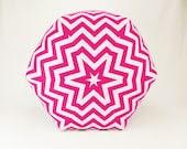 24 Inch Contemporary Modern Floor Ottoman Pouf Pillow Candy Pink/ White Chevron Zig Zag - Zeldabelle
