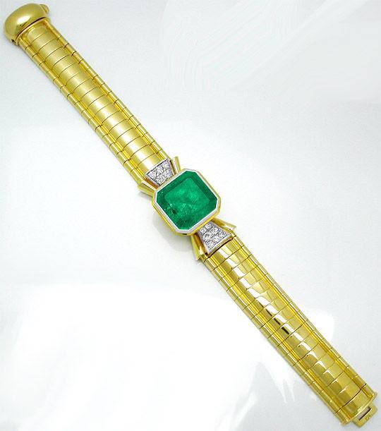 Foto 3, 20,5ct-Turbo-Smaragd Brillant-Armband Schmuck Portofrei, S7455