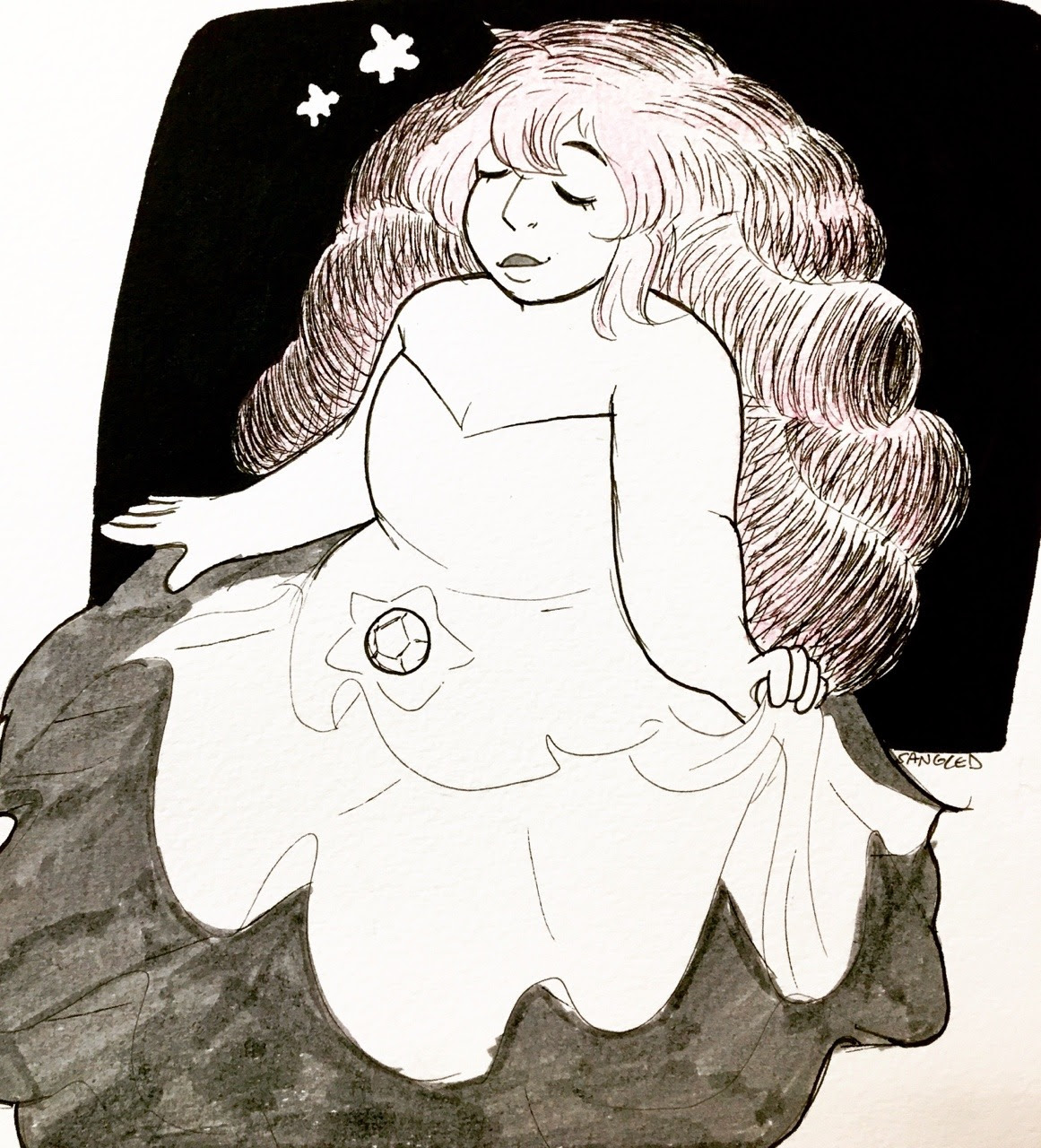inktober day 8: her design is so relaxing, i can't help but draw her as serene every time