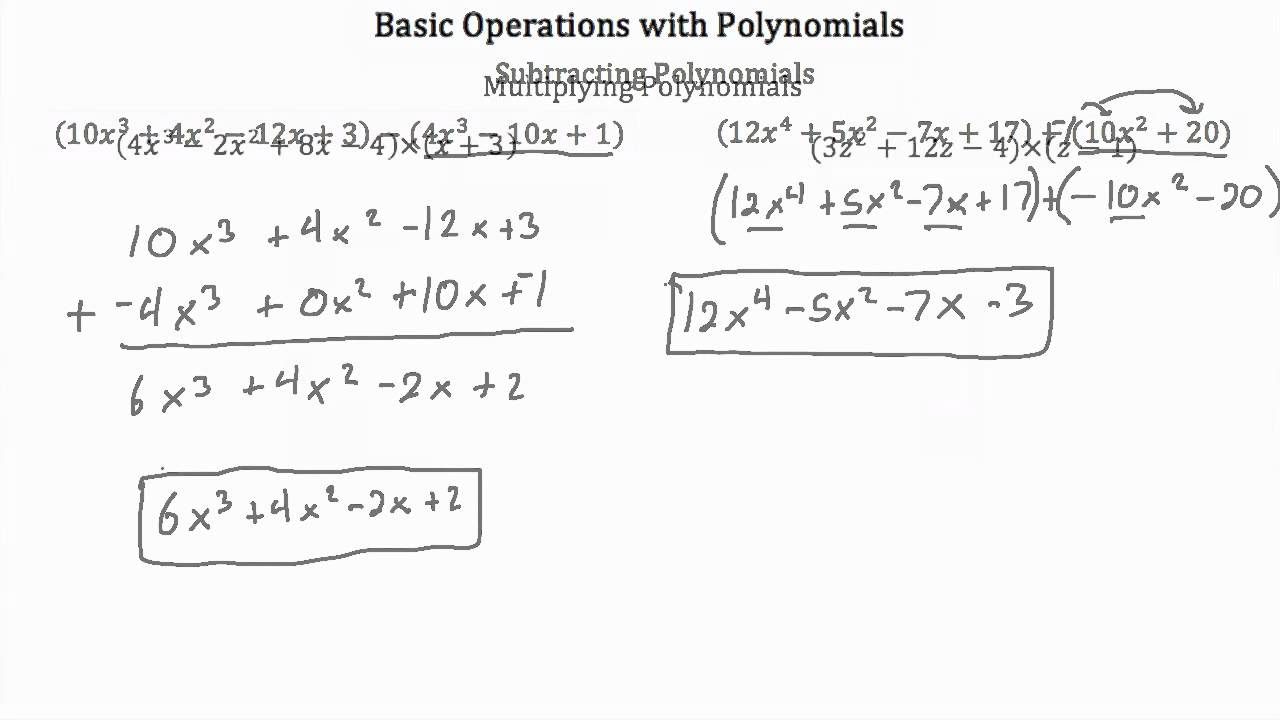 Basic Operations with Polynomials PT 1  YouTube