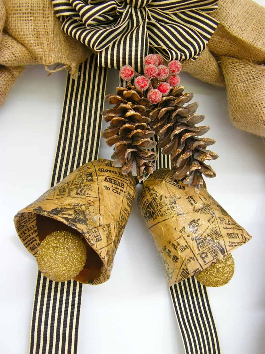 Burlap Wreath with Vintage Bells-12 Days of Door Decor- Day#2 ...