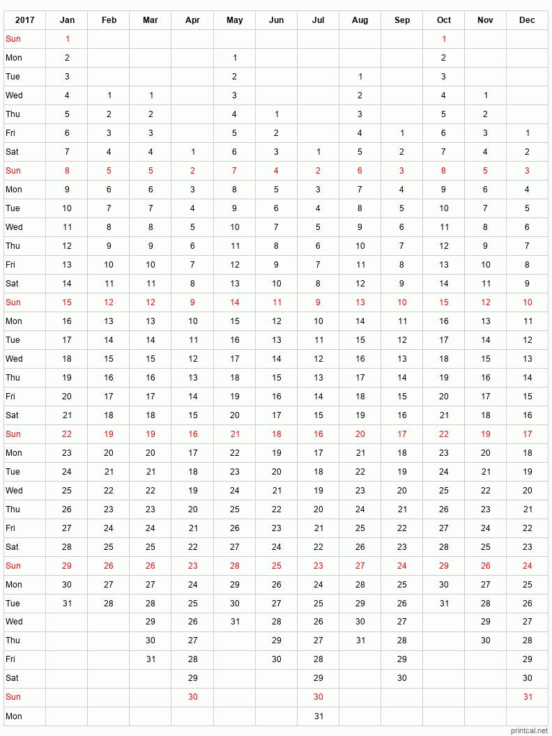 Printable full-year calendars for 2017