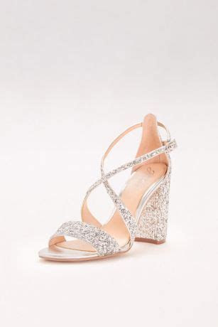 Textured Glitter Block Heel Sandals   David's Bridal