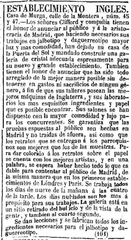 Anuncio del estudio de Charles Clifford en el diario liberal Clamor Público del 23 de enero de 1852