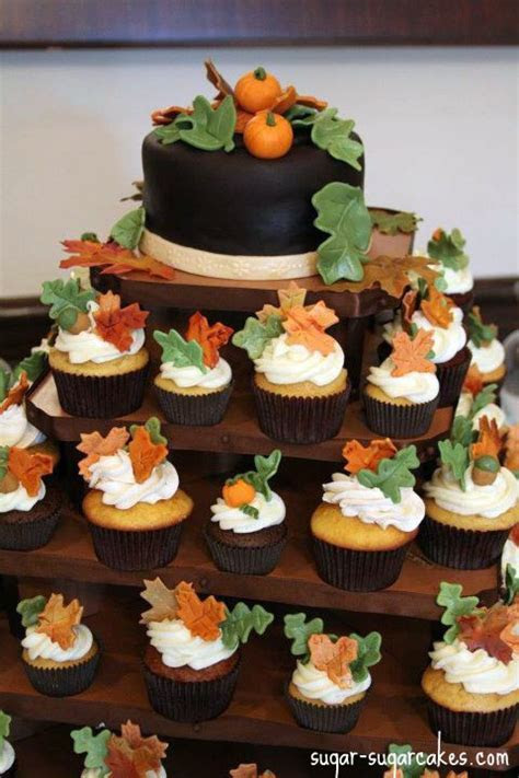 thanksgiving cupcake cakes   Fall Themed Cupcake Tower