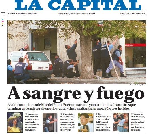 Tapa del diario LA CAPITAL el 18 de abril de 2001.