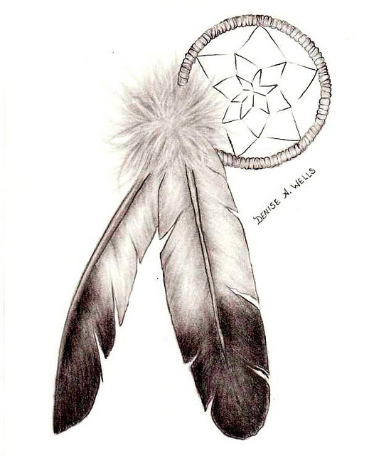 Awesome Bird Feather Tattoo Design