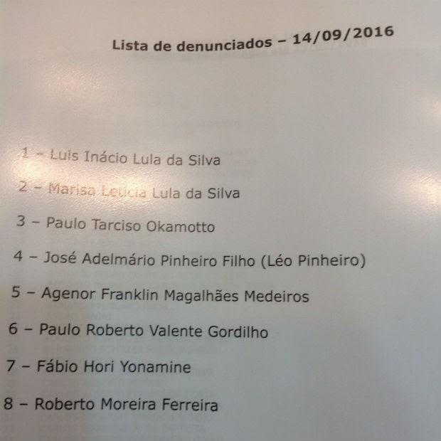 Lula, Marisa e mais seis são denunciados pelo MPF (Foto: Reprodução/MPF)