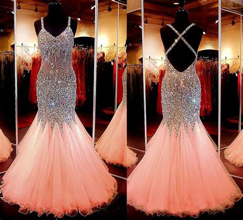 spaghetti strap pink tulle sparkly mermaid prom dresslong