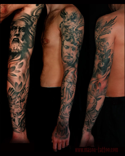 Black And Grey Stylish Greek Mythology Sleeve Tattoo Tattoomagz