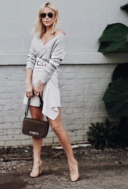 Le Fashion Blog Gray Slouchy Sweater Gray Wrap Front Skirt Nude Heels Via Happily Grey