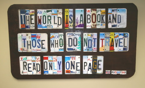art quote travel license plates