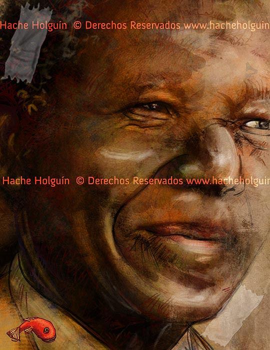 Retrato de Nelson Mandela por Hache Holguín