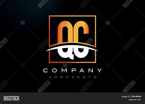 qc   golden letter logo design vector photo bigstock