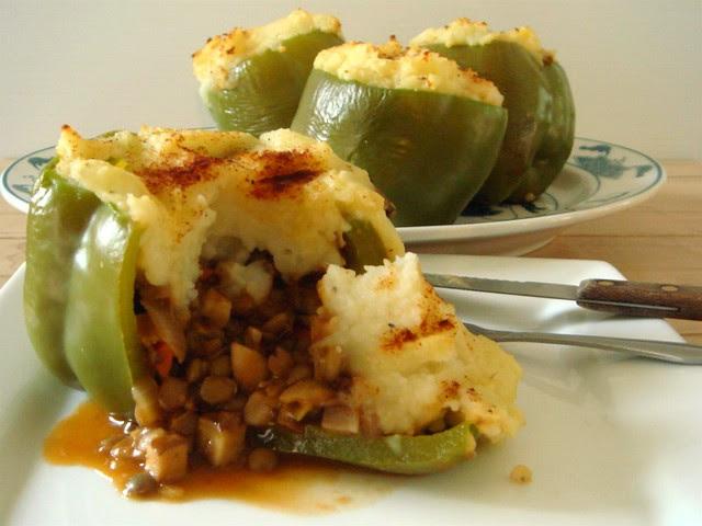Lentil Shepherd's Pie Stuffed Peppers