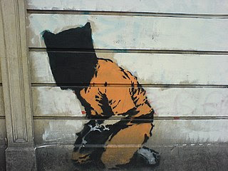 Graffiti de Banksy en los Commons de la Fundaciçon Wikimedia