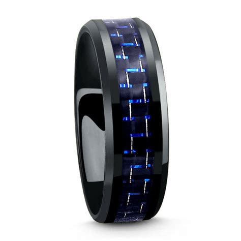 black titanium ring  blue black woven carbon fiber