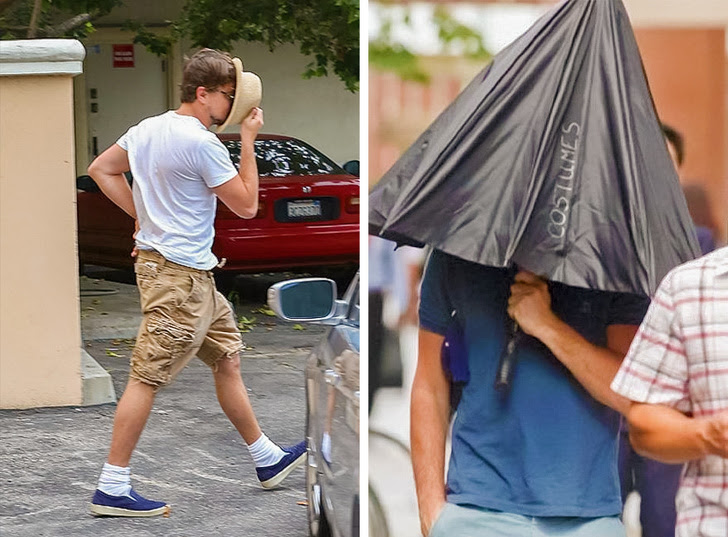 1 - Leonardo DiCaprio knows which tools he needs to hide from intrusive photographers.