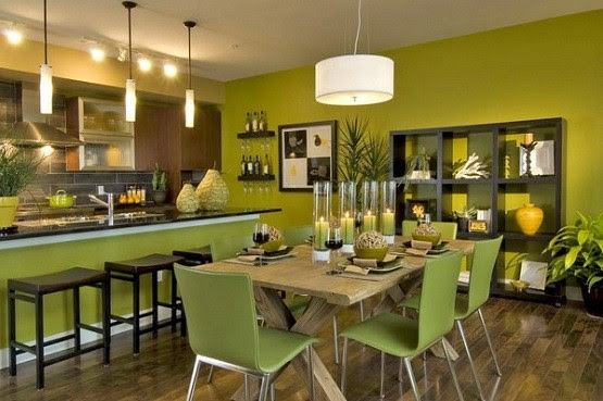 Green paint color for dining rooms with cream kitchen wall ...