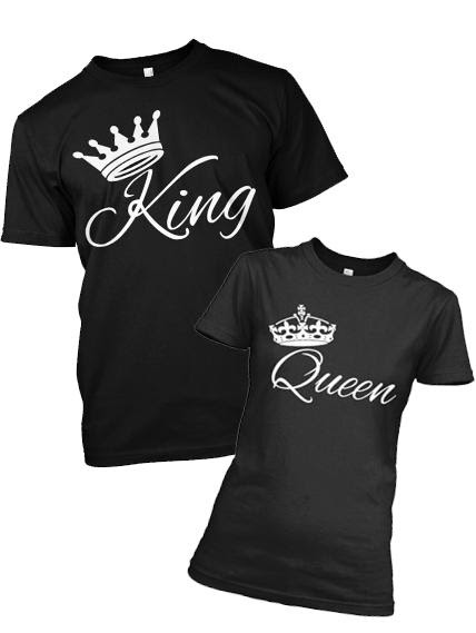 King Queen Crown T Shirts For Couple On Summer Sale