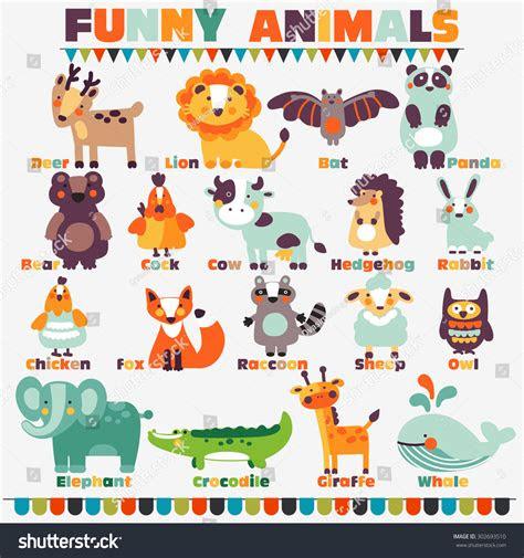 big funny animal set bright colors stock vector