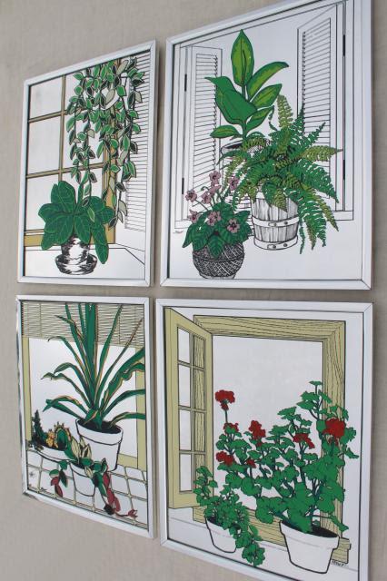 70s vintage prints on glass mirror tiles, hippie ...