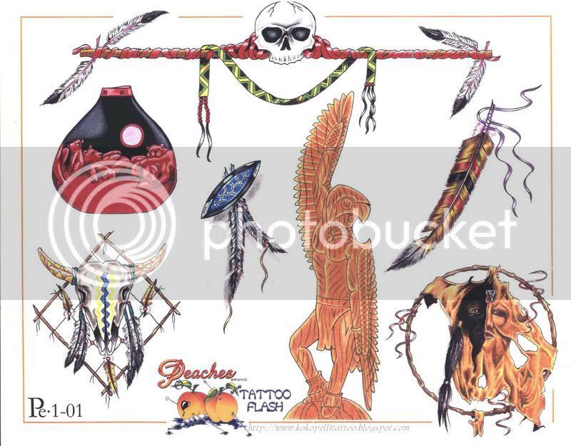 Peaches Tattoo Flash - Native American Set
