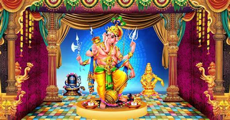 Lord vinayaka stage backdrop HD wallpapers with lord