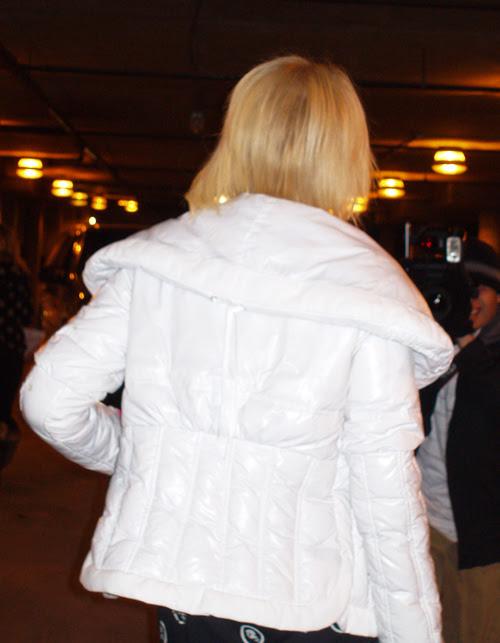 white jacket, Paris Hilton at Sundance Film Festival, Park City, Utah