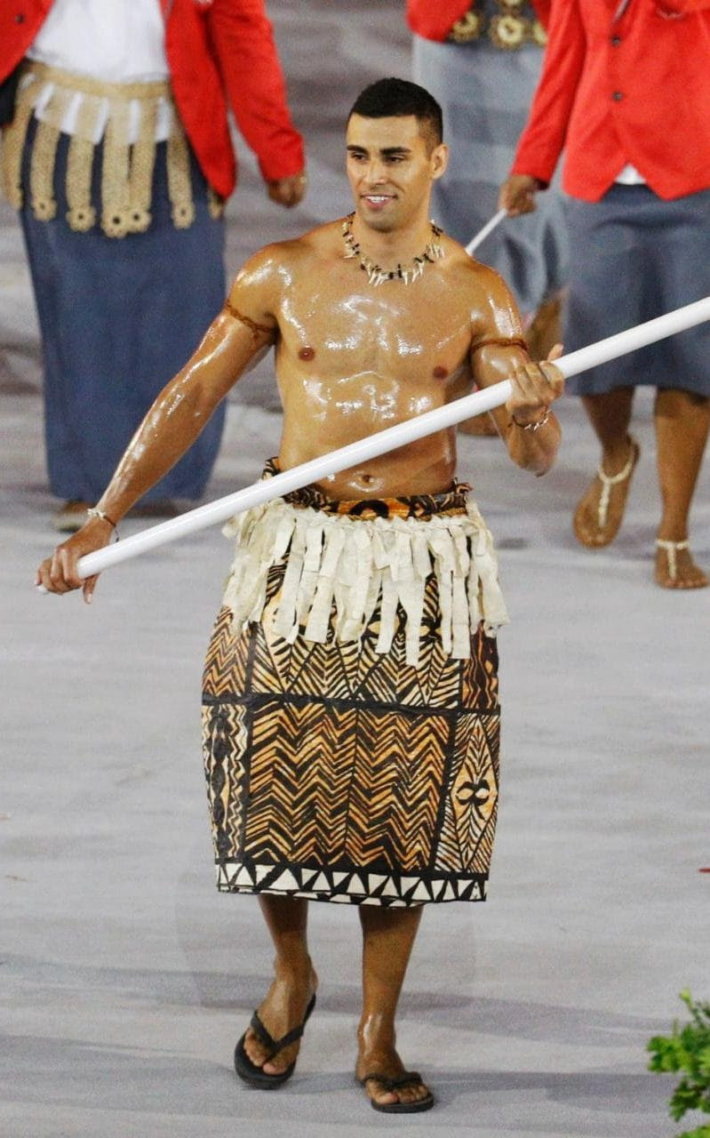 Pita Nikolas Taufatofua of Tonga leads his contingent during the athletes' parade at Rio's Opening Ceremon