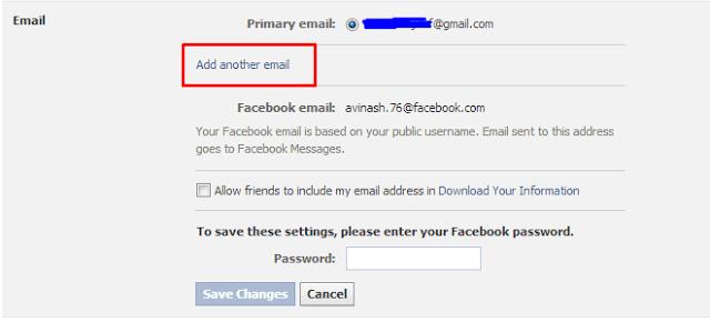 Thêm ID email phụ vào tài khoản facebook bảo mật tài khoản facebook của bạn