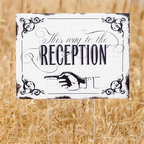 Vintage This Way To the Reception Directional Yard Sign