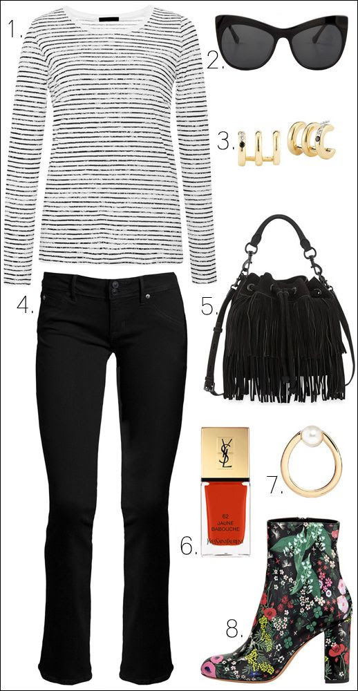 Le Fashion Blog Mix High Low Fall Style Striped Tee Cat Eye Sunglasses Fringe Suede Bucket Bag Cropped Flare Jeans Pearl Ring Valentino Floral Print Boots