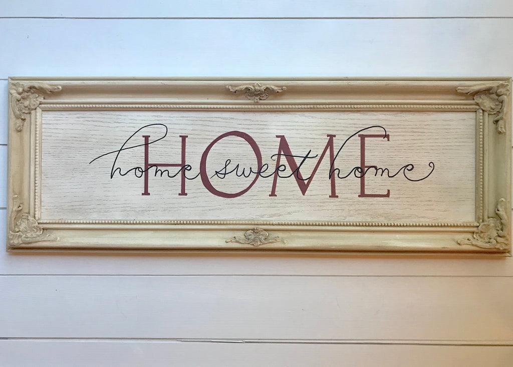 Home Sweet Home Linen Wood Frame Shack Decor