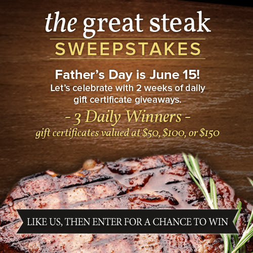 Enter The Great Steak Sweepstakes from Chicago Steak Company. Ends 6/14.