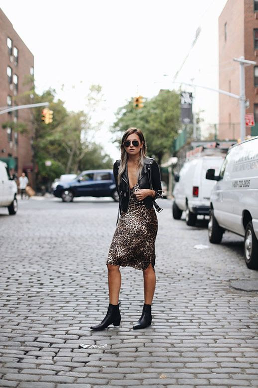 Le Fashion Blog Leopard Slip Dress Leather Jacket Pointed Toe Black Boots Via We Wore What