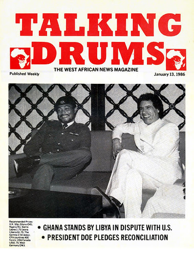 Rawlings and Gaddafi on cover of Talking Drums magazine 1986-01-13 - Ghana stands by Libya in US dispute - Doe pledges reconciliation
