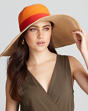 Aqua Colorblock Floppy Hat