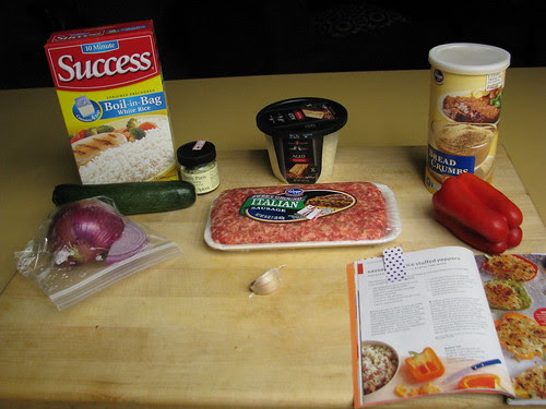 ingredients for Sausage and Rice Stuffed Peppers