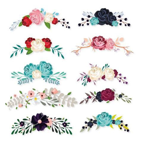 Beautiful Flowers vector Digital Clipart Instant Download