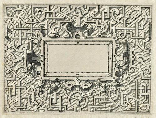 Rechthoekige cartouche omgeven door moreskentitel