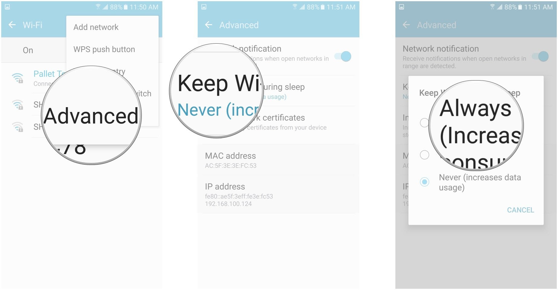 tap Advanced, tap Keep Wi-Fi on during sleep, tap Always