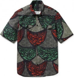 Burberry Prorsum Printed Short Sleeve Cotton Shirt