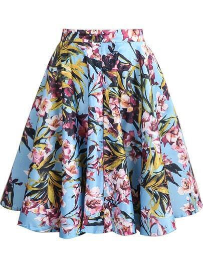 Blue Floral Ruffle Skirt pictures