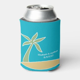 Tropical Beach Palm Tree Wedding Favor Cooler